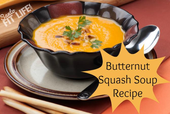 Bowl of delicious butternut squash soup
