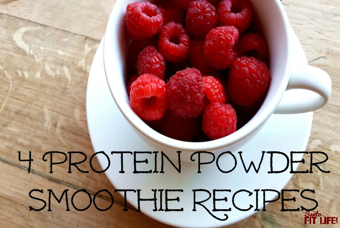Cup with raspberries 4 protein powder smoothie recipes