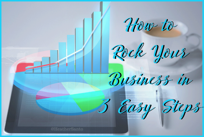 Increasing graph with a coffee mug. How to rock your business in 3 steps