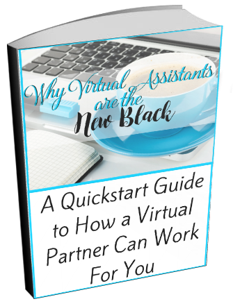 Blue coffee cup with keyboard on the cover of the quickstart guide to working with a virtual assistant
